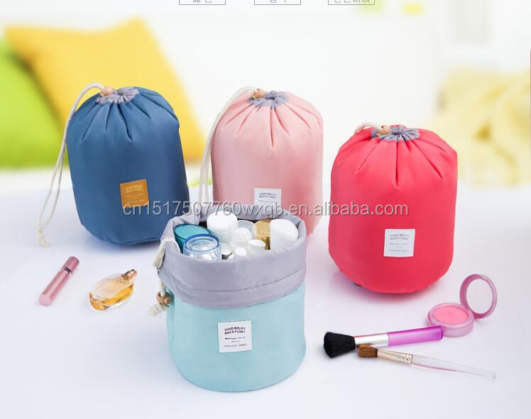 High capacity nylon barrel Shaped Travel Cosmetic Bag