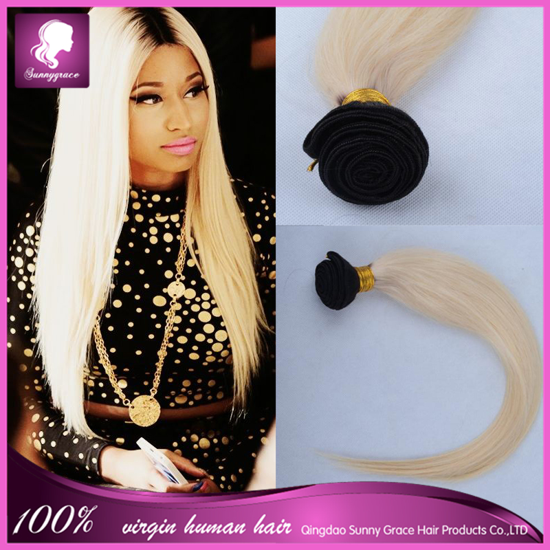 Brazilian Ombre Blonde Hair Straight Sew In Human Hair Weave Ombre