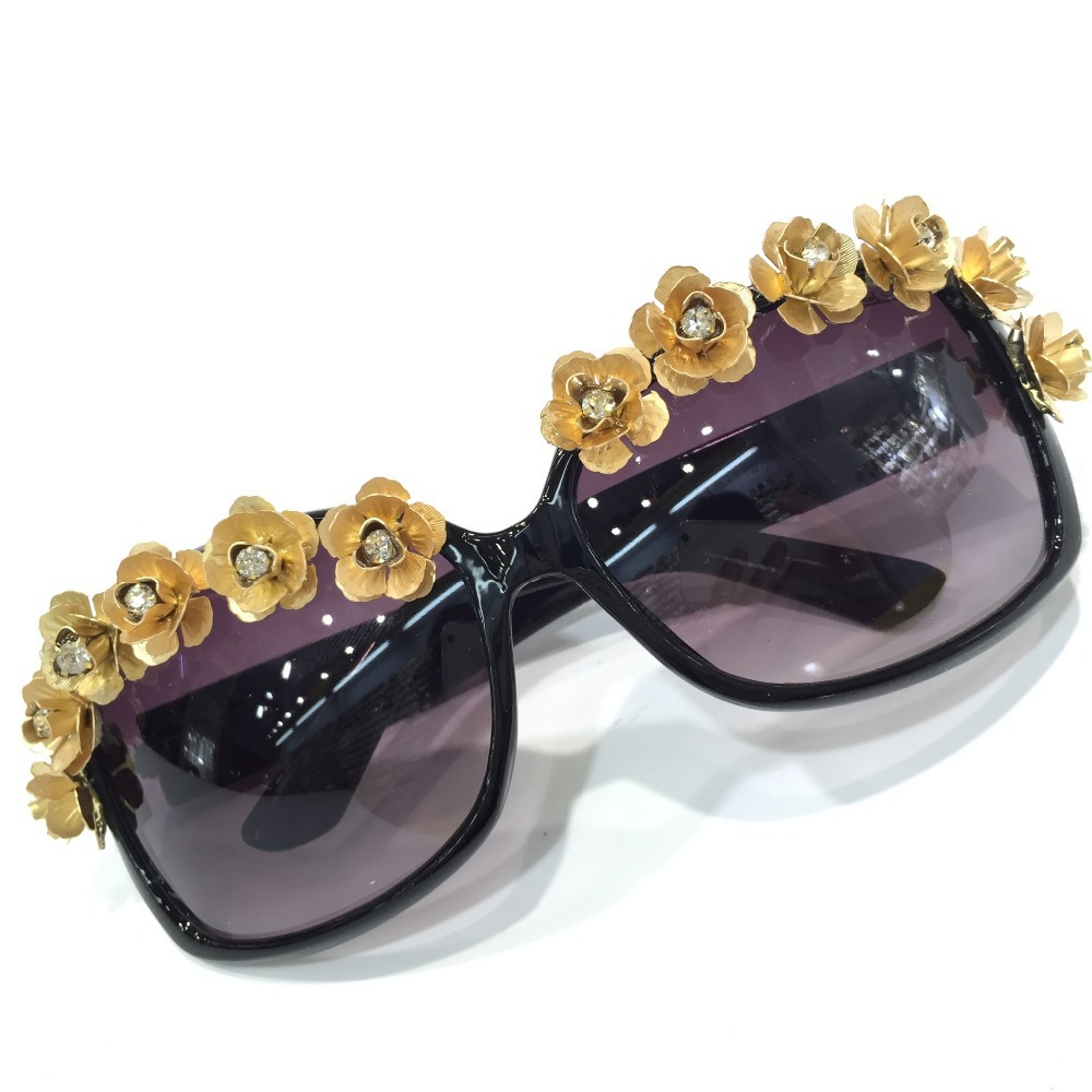95185a32cd79e Get Quotations · 2015 New Arrival D G Fashion Women Black Sunglasses  Glasses Handmade Vintage Baroque Gold Plated Crystal Flowers