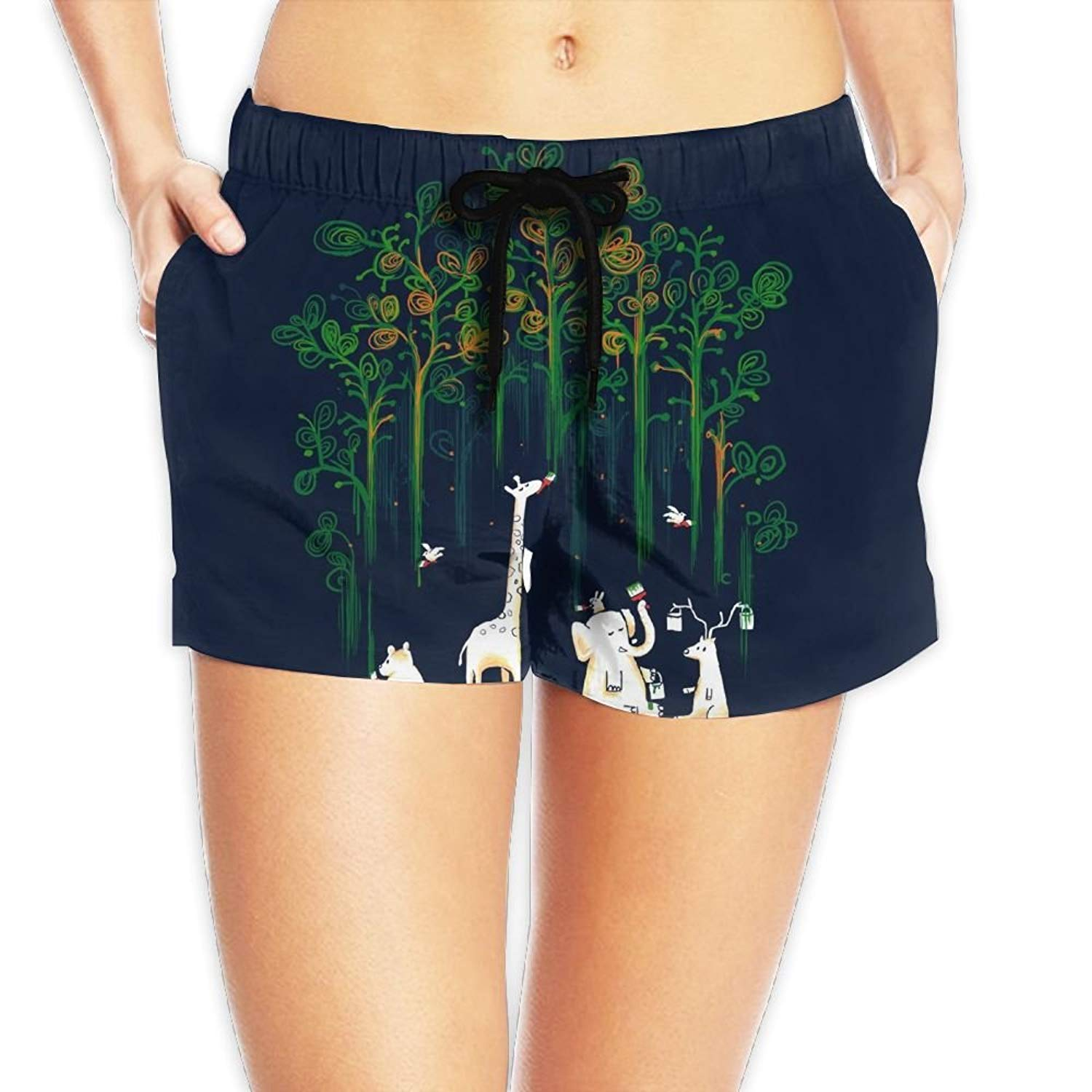 286e7711f0 Get Quotations · Animals Meanwhile in The Woods Sexy Quick Dry Boardshort  Hot Pants Swimming Trunks Tropical Beach Shorts