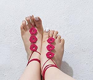 Crochet barefoot sandal-Barefoot sandals-Ruffle barefoot sandals-Beach wedding shoes-Footless sandals-Bridal barefoot sandals-Bikini-Anklet
