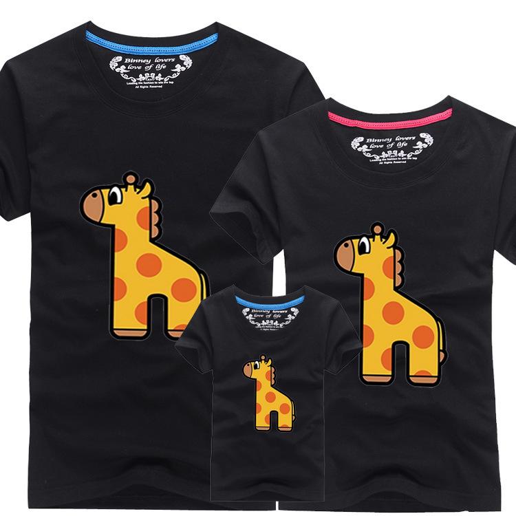 Лето стиль хлопок Tshirt милый комикс принт короткий рукав тис рубашки семья соответствующие наряды выглядят Smk820