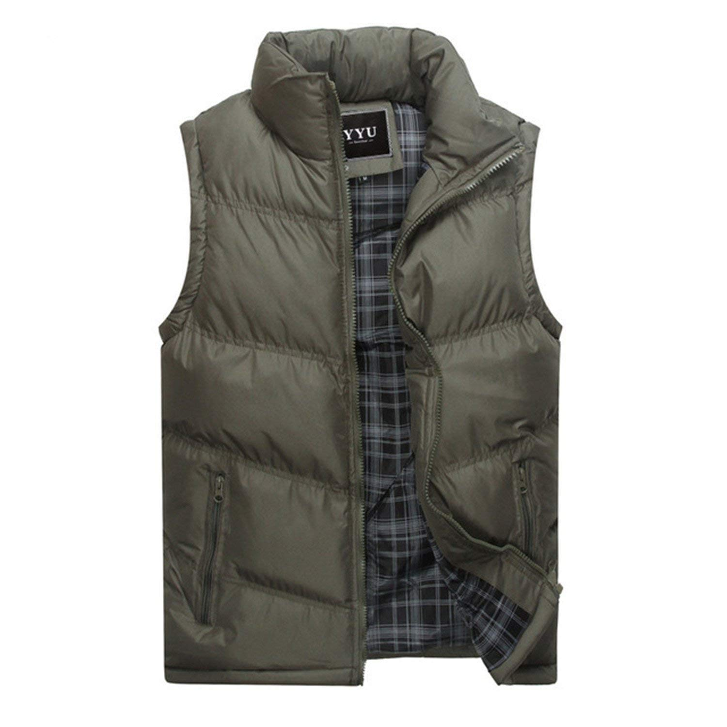 Jwhui Mens Jacket Sleeveless Vest Casual Coats Male Cotton-Padded Men Vest Men Thicken Waistcoat 3XL