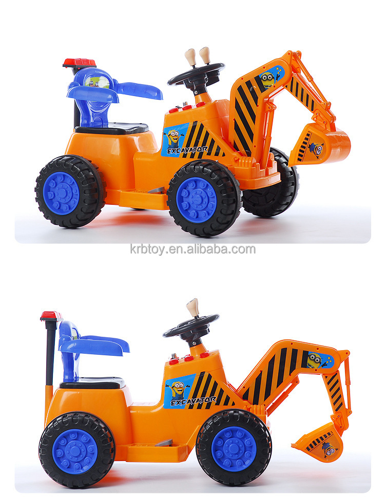 6V Kids Ride on Car Digger / Excavator Toy Electric Battery Toddler Yellow Color