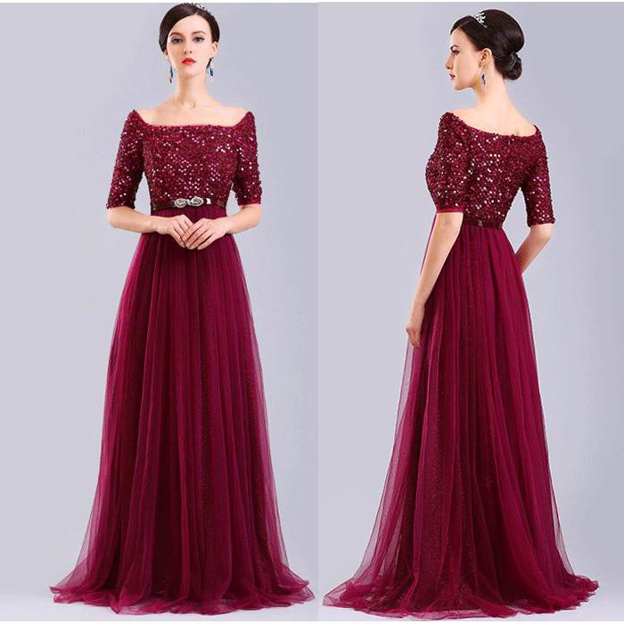 Simple And Elegant Wedding Dresses Boat Neck Three Quarter: New Design Elegant Three Quarter Sleeves Evening Dress