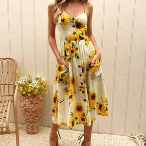 Summer Casual Dress 33 Colors Women Botton Front Cotton Floral Print Elegant Vintage Sleeveless Dresses