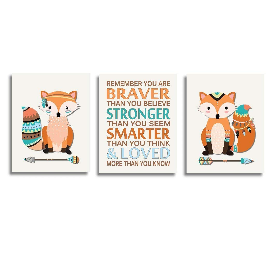 CANVAS Baby Boy Nursery Art Tribal Fox Woodland Animals Forest Toddler Bedroom Remember You Are Braver Baby Nursery Decor SET OF 3 CANVAS