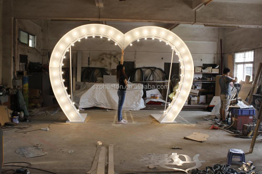 Heart Shape Lighting Wedding Arch Metal Arch For Wedding Decoration ...