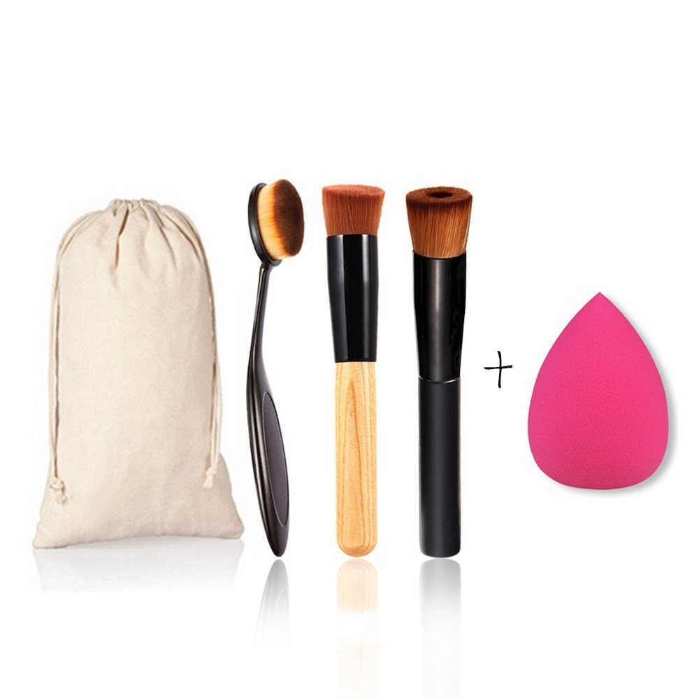 TOPBeauty 4Pcs Makeup Tool Set Toothbrush Curve Liquid Foundation Brush, Oblique Head Brush with Cosmetics Sponge Puff by TOPBeauty