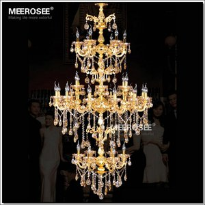 MEEROSEE 3 Tiers Hotel Extra Large Crystal Chandelier for Sale Overstock Chandelier Crystals Noble Lighting MD2523