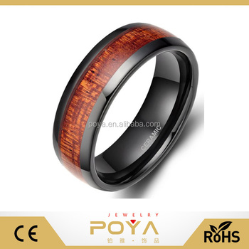 POYA High-end Polish Dome 8mm Men's Black Ceramic Ring with Mahogany Wood Laminate Inlay Comfort Fit Wedding Band