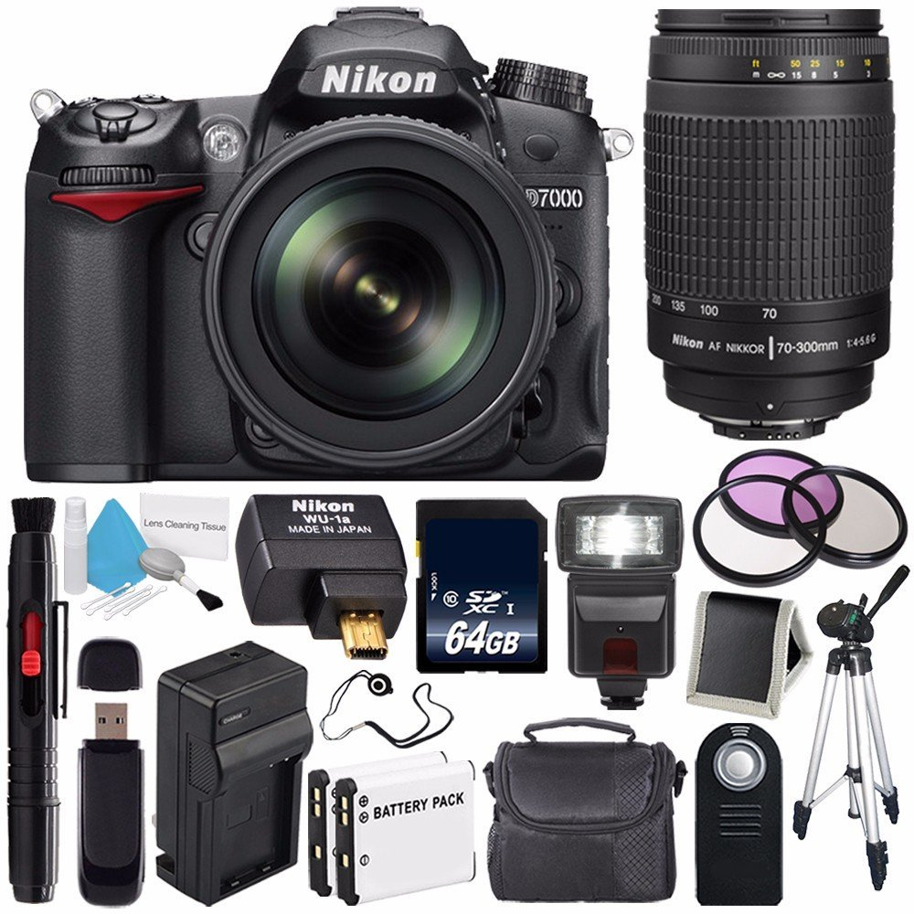 Nikon D7000 DSLR Camera Kit with Nikon 18-105mm f/3.5-5.6G ED VR Lens (International Model) No Warranty + 70-300mm f/4-5.6G Nikkor Zoom Lens + WU-1a Wireless Mobile Adapter Bundle 56