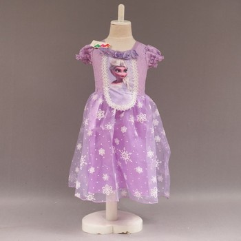 New Style Kids Girl\'s Short Sleeve Snow Frozen Pattern Ball Gown 3 ...