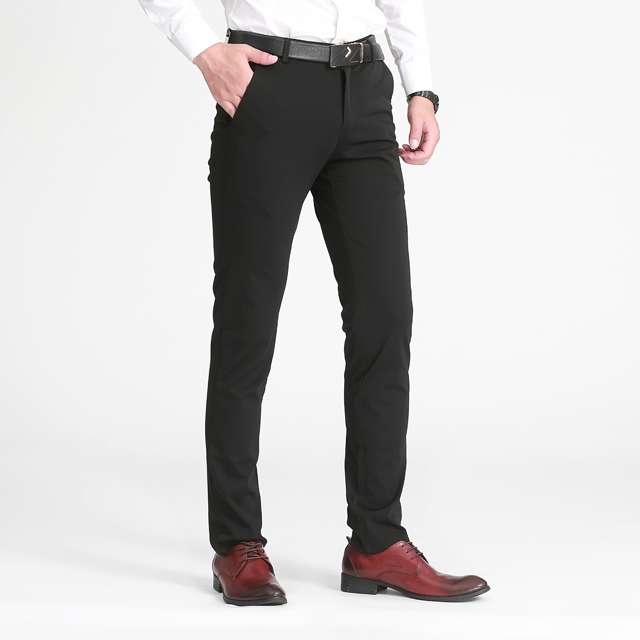 2019 Young and middle-aged men's ironing and wrinkle-resistant black leisure trousers фото