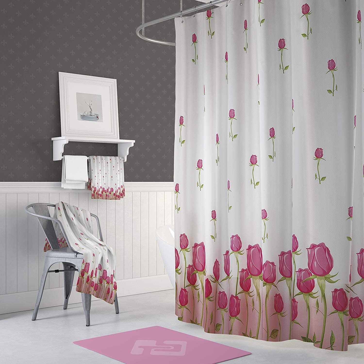Buy Custom Ombre Pink White Shower Curtain 66 X 72