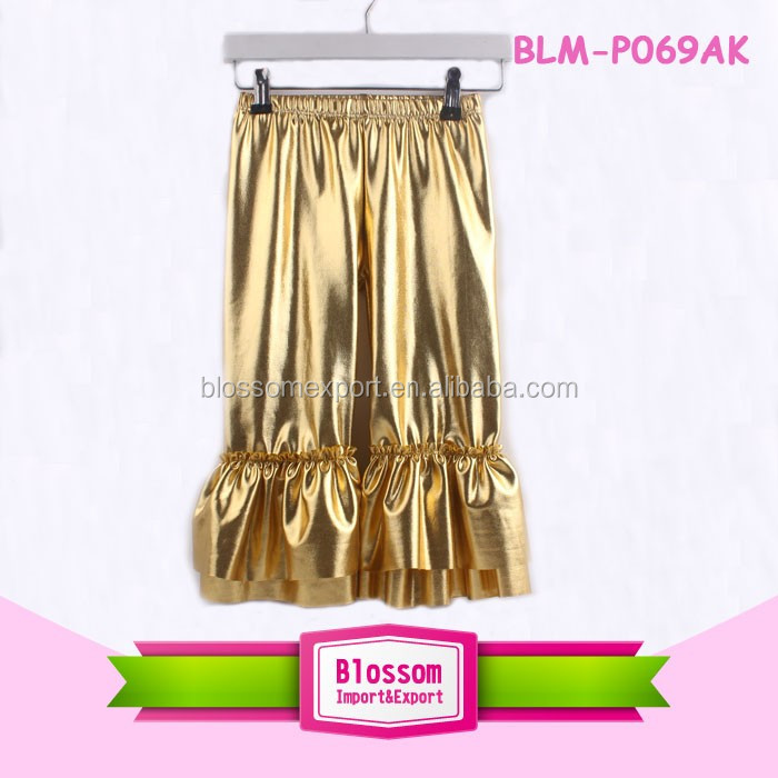 Best design fashion newborn infant plain gold triple ruffle icing petti girls ruffle icing legging baby icing ruffle pants