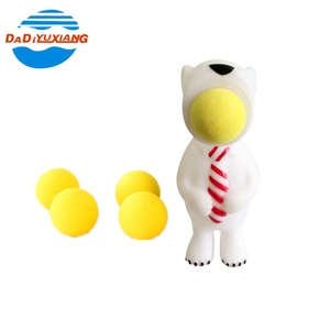 Plastic lovely white bear rubber jumping popper toy with balls