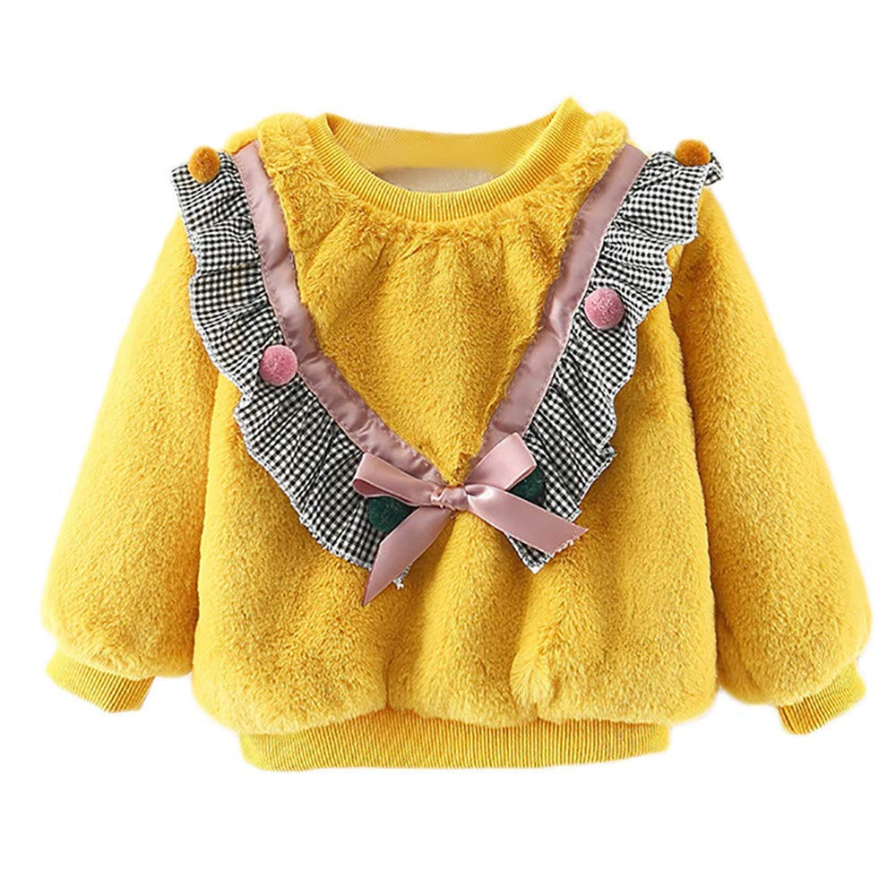 Little Kids Autumn Winter Warm Sweatshirt,Jchen(TM) Baby Kids Little Girls Boys Long Sleeve Plush Grid Pullover Tops Tee for 0-24 Months (Age: 6-12 Months, Yellow)