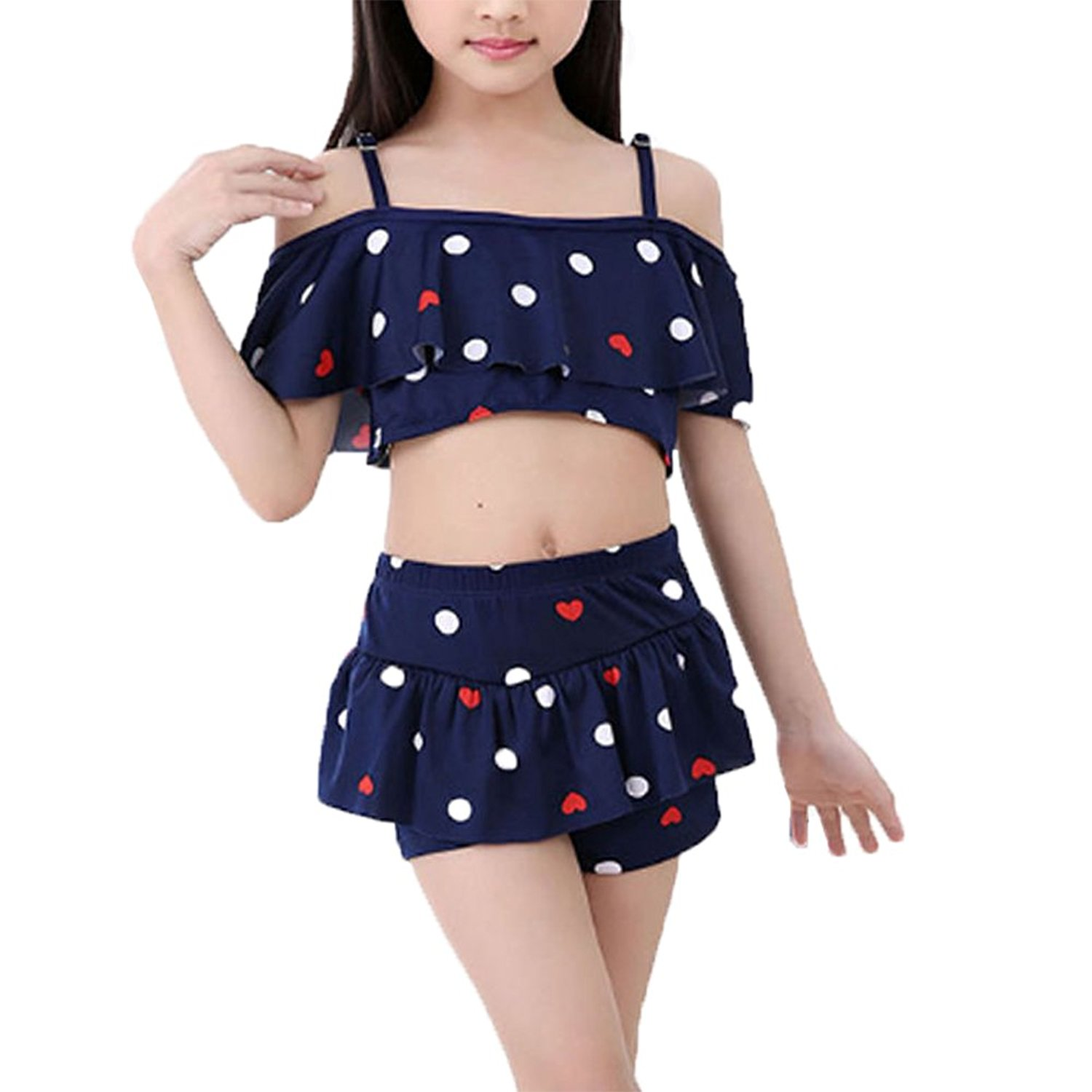 c775c3ccaa6 Get Quotations · MyCHIC Girls Kids 2 Piece Tankini Swimwear Swimsuit  Bathing Suits Tops with Shorts