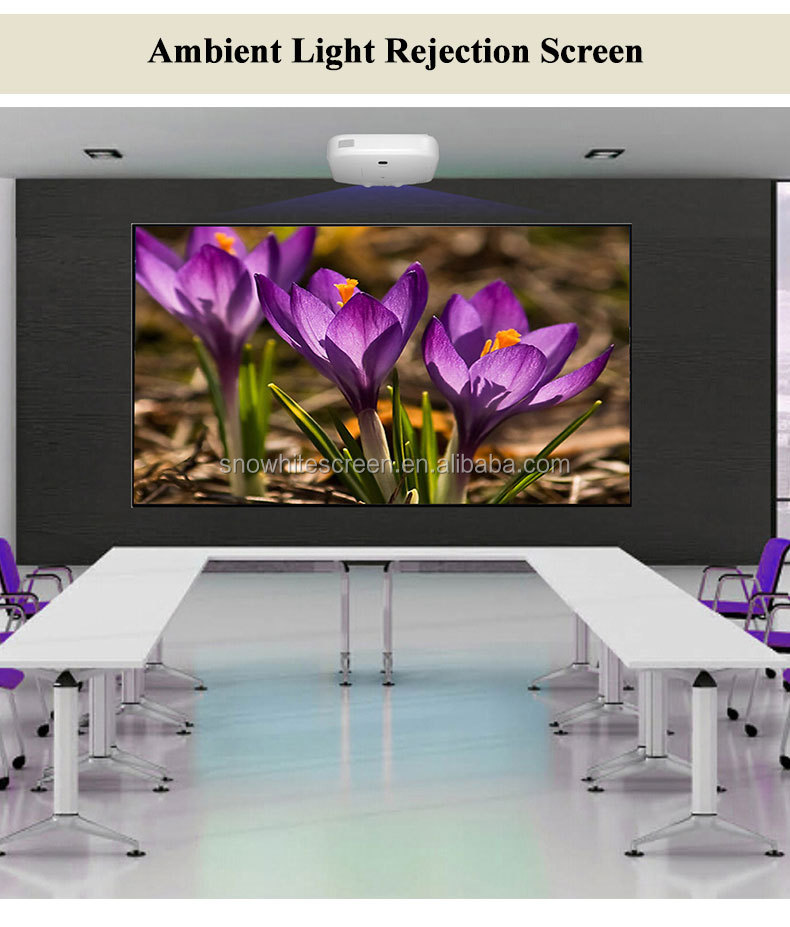 "SNOWHITE 90"" 16:9 Format SM090CFH-C(V) long Focus 4K 3D Fixed Frame Ambient Light Rejection Projection Screen"