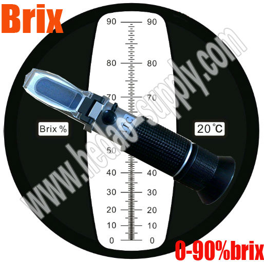 Hand held sugar refractometer for testing sugar brix content