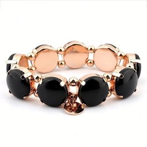 New 2019 Women Gemstone Jewellery Rose Gold Bow Charm Stretch Natural Stone Bracelet