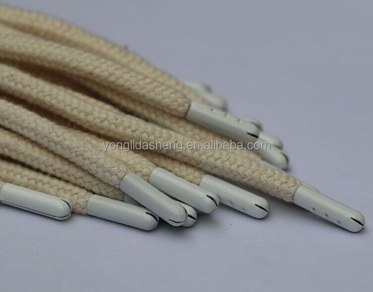 Custom round cotton shoelace with white metal aglet for basketball shoes