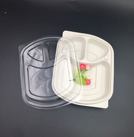 Multi 3 compartment biodegradable microwave cornstarch food container