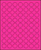 """1"""" Round Fluorescent Pink Labels for Laser Printers, Inkjet Printers or Copier Machines. (GLC100FP)"""