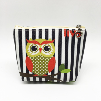 Hot selling handmade customized stripe coin bag lovely animal design coin purse  cute owl design zipper wallet