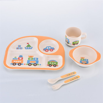 Eco-Friendly Bamboo  Fiber Kid Set Dishes Kids 5-Piece Meal Set, Toddler Dinnerware Set