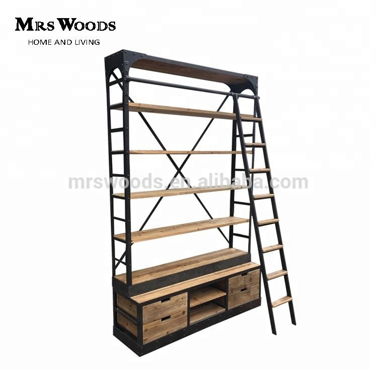online store a68f2 d3a47 Rustic Iron Reclaimed Wood Industrial Bookcase With Ladder - Buy Industrial  Bookcase With Ladder,Industrial Bookcase With Ladder,Industrial Bookcase ...