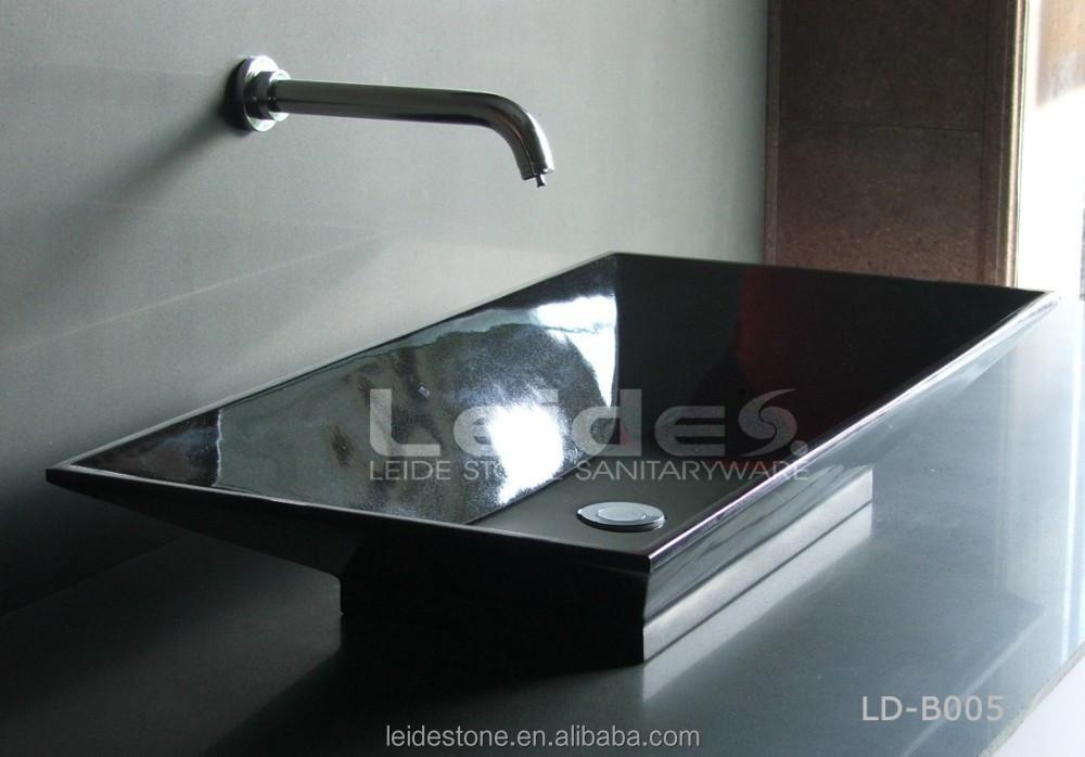 Rectangular Fancy Bathroom Sink Shanxi Black Granite