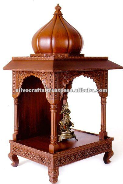 Wooden Carved Dome Mandir Temple Carved Furniture From India