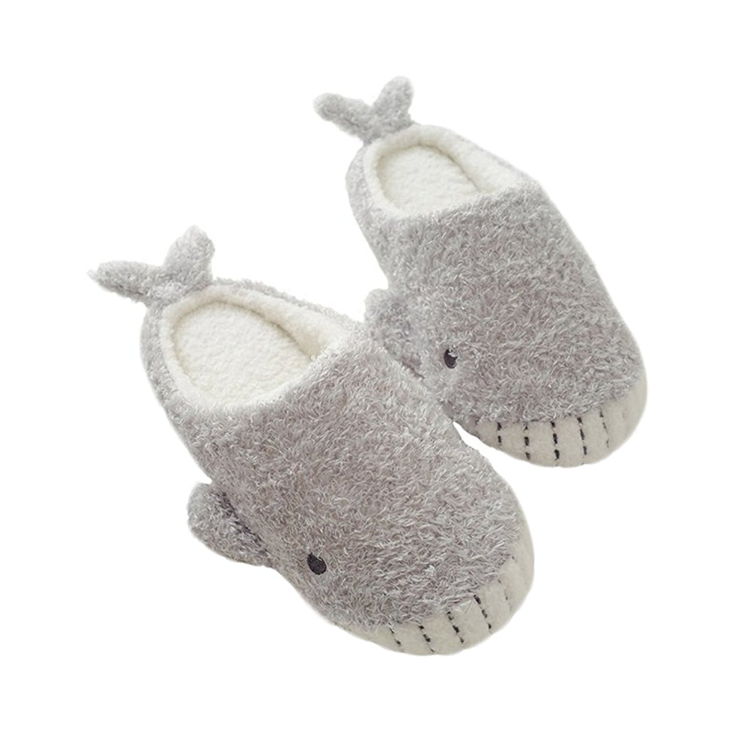 SOCOMP Women's Cute Soft Plush Furry Animal Warm Cozy Home Winter Slippers Indoor Shoes for Bedroom Kitchen Dining Room(Gray Whale)