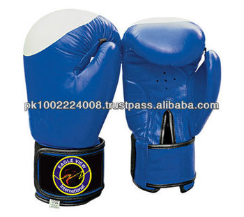 BOXING GLOVES MADE OF FINE QUALITY COWHIDE LEATHER FILLED WITH MACHINE MOLD FOAM BLUE COLOR SIZE 8 OZ TO 18 OZ