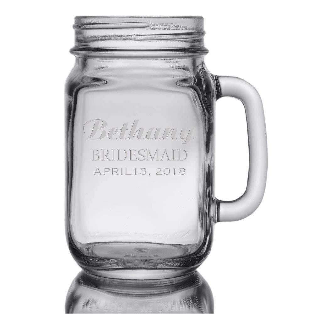 Custom Wedding Personalized 16 oz Mason Jar - Bride, Bridesmaid, Mother Of Honor, Maid Of Honor - Engraved Drinkware Glassware (Mason Jar)