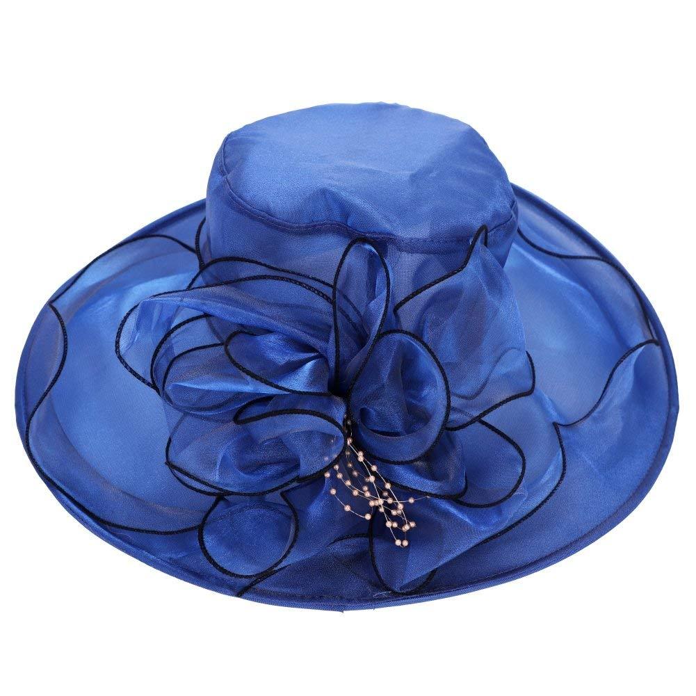 Get Quotations · Women Organza Church Derby Hat UPF 50+ Bucket UV  Protection Ruffles Sun Hats Packable Floral 50f80568b017