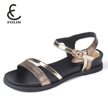 2018 latest ladies flat sandals rubber sole summer women wedge sandals with high quality
