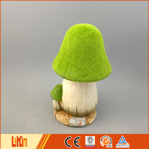 Delicate design green pottery outdoor mushroom garden decor with a small mushroom