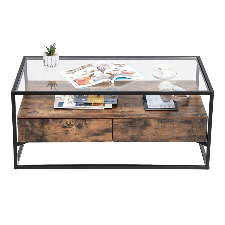 Vasagle Coffee Table Tempered Gl Top With 2 Drawers And Rustic Shelf Decoration Tea In Living Room Lounge