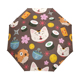 Compact Travel Umbrella Cats Fish Sun and Rain Auto Open Close Lightweight Portable Folding Umbrella