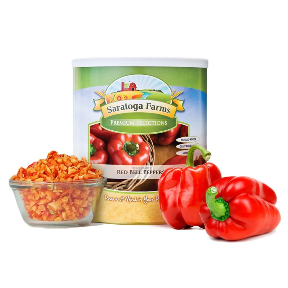 Saratoga Farms Freeze-Dried Red Bell Peppers, #1 Emergency Food Storage, 32 Total Servings with 10-20 Year Shelf-Life in #10 Can (Save Even More with 2,3,4, or 6 Pack)