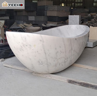 Hotel home modern hand carving white marble stone freestanding bathtub