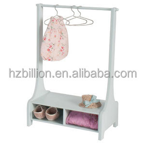 Fashion White Wooden Standing Clothes Rack Coat For Kids Bedroom Furniture