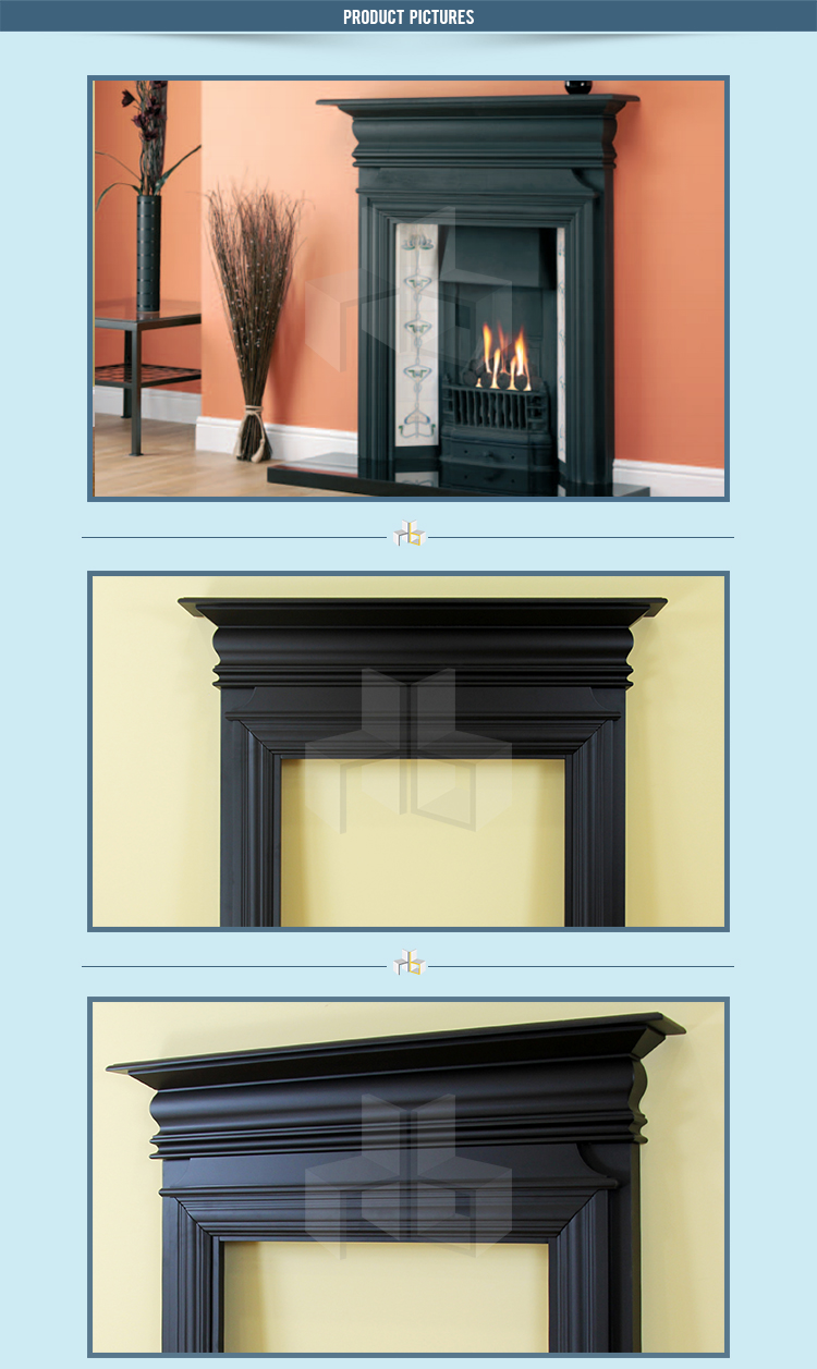 Euro Best Er Bronte Black Painted Solid Wood Fire Surround Fireplace Mantels