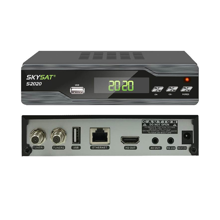 Free IKS SKS forever server H 265 HEVC satellite tv receiver SKYSAT S2020  supports IPTV M3U VOD with twin tuner