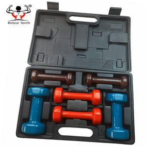 Two Kinds Style PVC 6kg Vinyl Dumbbell Set With Carry Case