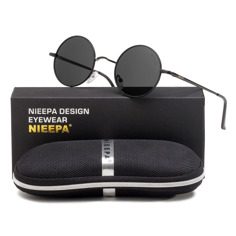 21d043f74 Get Quotations · NIEEPA John Lennon Vintage Round Polarized Hippie  Sunglasses Small Circle Sun Glasses