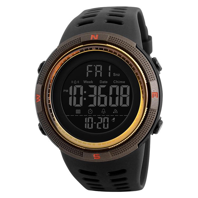 SKMEI 1251 chrome watches men wrist electronics relojes digitales cheaper trendy water resistant watch 50m, 6 colors